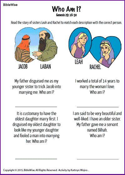 Who Am I? (Leah and Rachel) - Kids Korner - BibleWise                                                                                                                                                                                 More