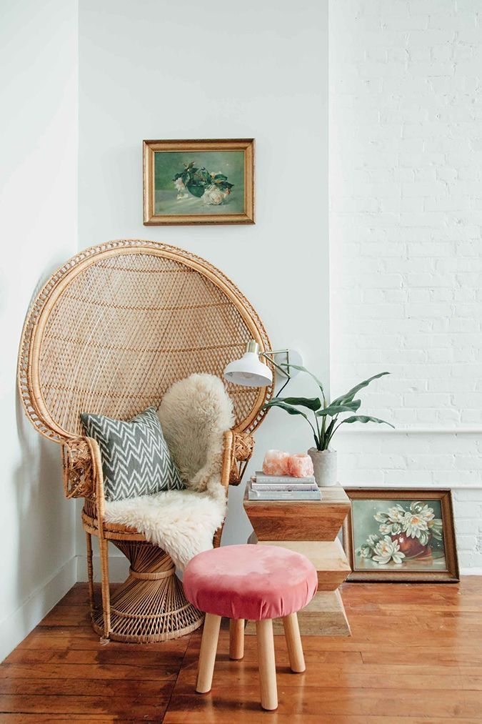 Peacock chair in a boho living space