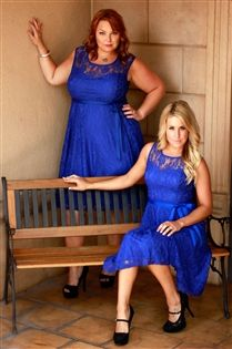same dress in blue. you can see what it looks like on a thin person. Love this style