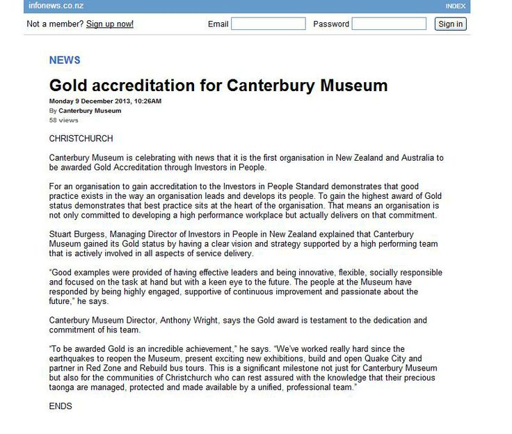 Gold accreditation for Canterbury Museum