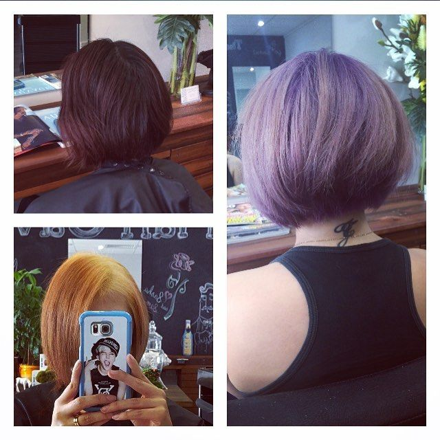 It can be done! From built-up old dark colours, lifted to an interesting sunset and after a second application of our lightener we were able to achieve a nice shade of blond ready for purple! #purplehairdontcare #scissorandroc #colourists #missioncomplete #fun #hair