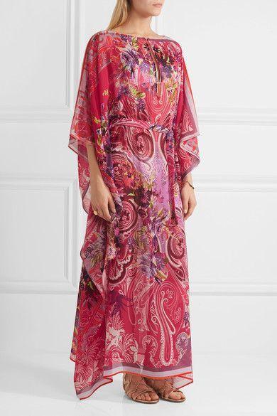 Etro - Printed Silk Kaftan - Bright pink - medium