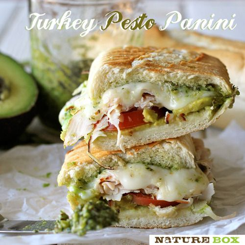 Turkey Pesto Panini   Ingredients:       •1 TBSP olive oil   •1 loaf of French bread, cut into 3-4 equal pieces   •1/2 cup pesto, homemade or store-bought   •4-8 ounces mozzarella, sliced   •2 cups chopped leftover Thanksgiving turkey   •2 Roma tomatoes, sliced   •1 avocado, sliced