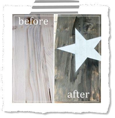 Mimi {blue roof cabin}hatte im Januar gezeigt wie man stinknormalen Holzplanken diesen alten verwitterten Look verpasst, ohne die Dinger Jahre im Garten verrotten lassen zu müssen. Ich war anfangs...