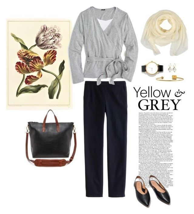 """""""Yellow & Grey for Work"""" by bluehydrangea ❤ liked on Polyvore featuring J.Crew, Vince, Madewell, Sarah Chloe, Simone Rocha and Ermanno Scervino"""