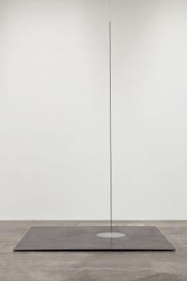 Lee Ufan Relatum, 1974/2012 Steel pipe, steel plate, piano wire, stones