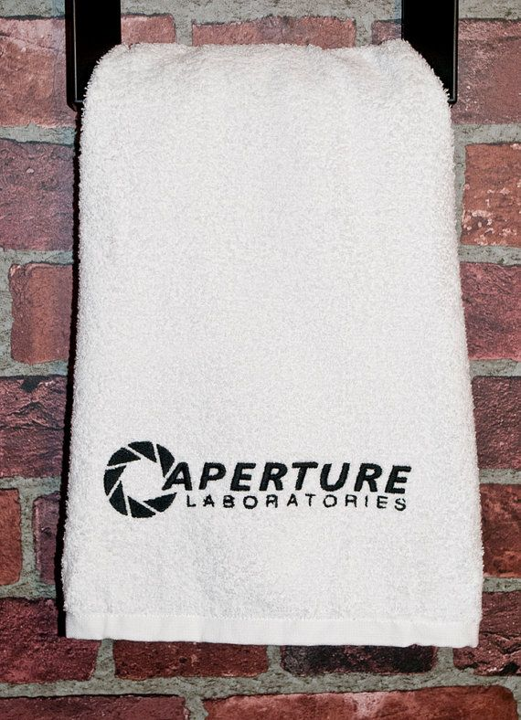 Wedding Gift Ideas For Nerds : Portal geek wedding gift Aperture Laboratories bathroom towel geek ...
