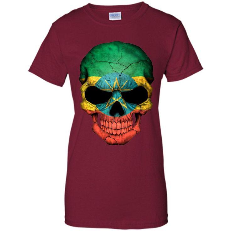 Ethiopian Flag Skull Ethiopia T-Shirt