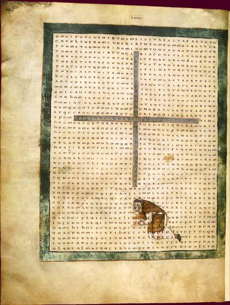 """Raban Maur, In honorem sanctae crucis  Raban Maur adorant la Croix  Abbaye de Fulda (Allemagne), 2e quart du IXe siècle. Exégète de renom et disciple d'Alcuin, Raban Maur (780-856) est un auteur à visée didactique, et surtout cette """"encyclopédie"""", la seule du monde carolingien, inspirée des Étymologies d'Isidore de Séville, le De natura rerum, considéré comme un classique jusqu'au XIIIe siècle."""