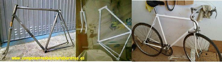 Bicicleta fixie blanca ! La evolución en imágenes ! Propiedad de Componentes Bicicleta Baratos en Zaragoza