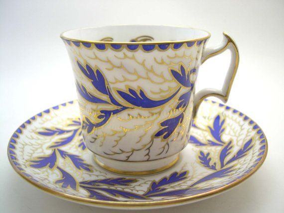 Antique Royal Chelsea tea cup and saucer,  1940's Royal Chelsea teacup, Cobalt Blue and gold tea cup, English Fine Bone China
