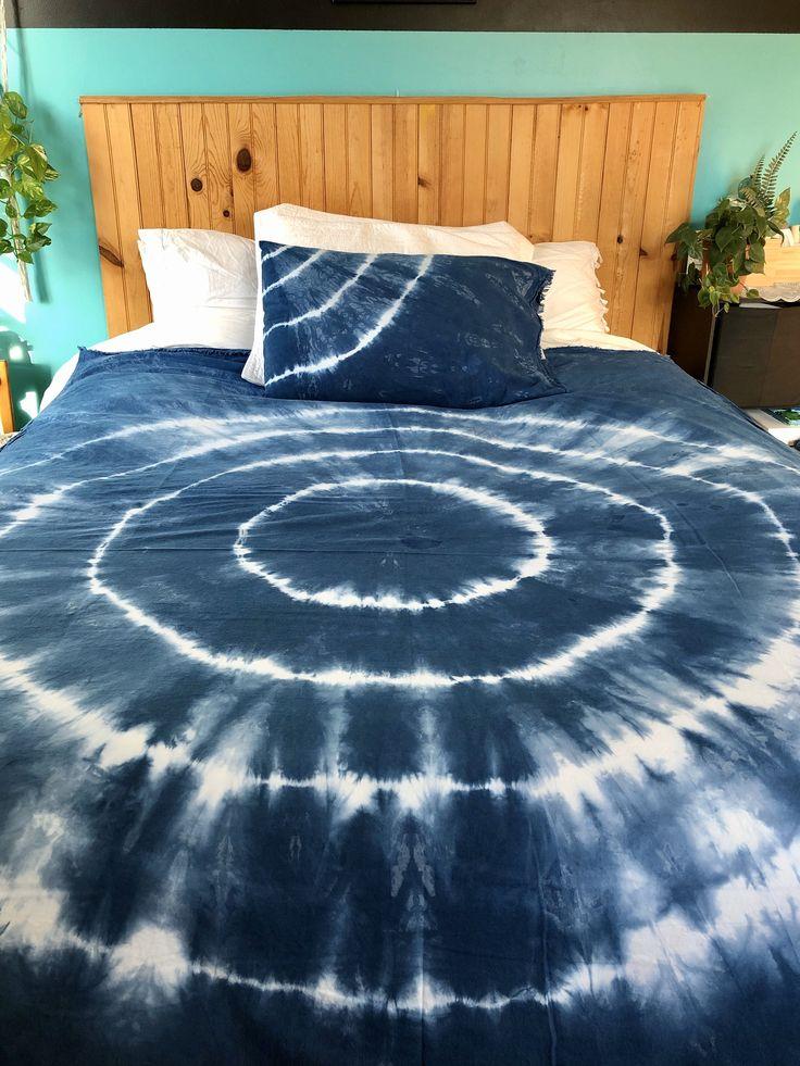 Hand dyed indigo shibori 100 cotton xl twin sheet set
