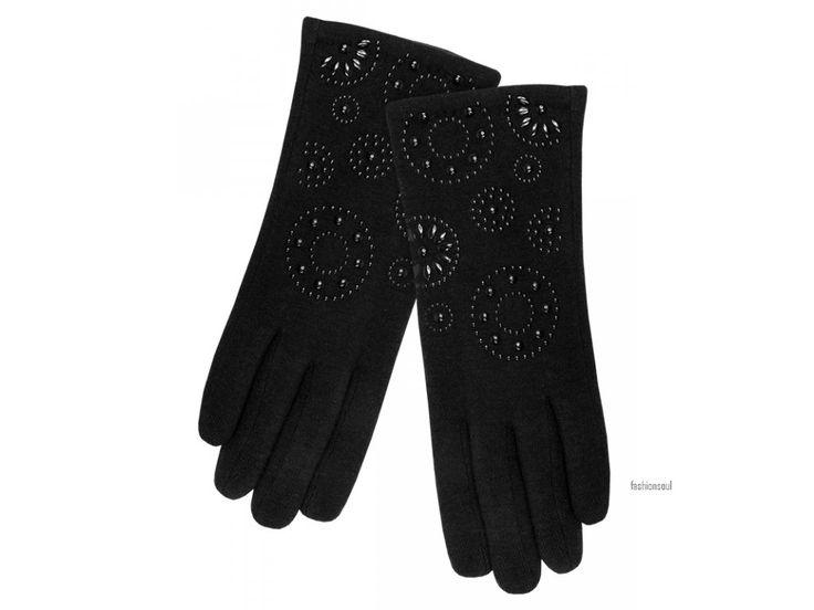 Dámské elegantní extra měkké rukavice se vzorem z jemných kamínků z vlny