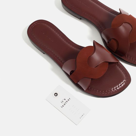 Image 1 of CONTRAST LEATHER SLIDES from Zara