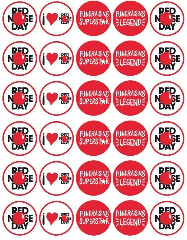 30 X Red Nose Day Comic Relief - Edible Cupcake Toppers Rice / Wafer Paper in Home, Furniture & DIY, Cookware, Dining & Bar, Baking Accs. & Cake Decorating | eBay