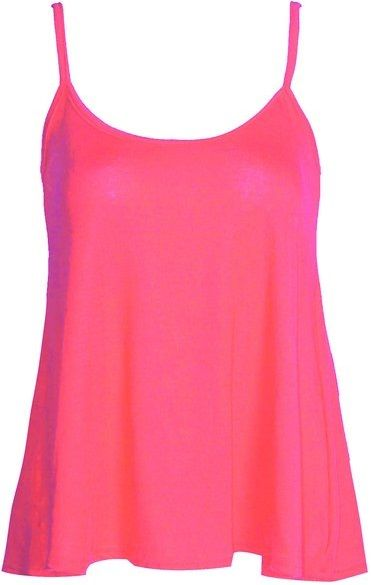 FOREVER - SLEEVELESS - PLAIN - VICOSE - JERSEY - SWING CAMI / VEST / TOP -- NEON PINK