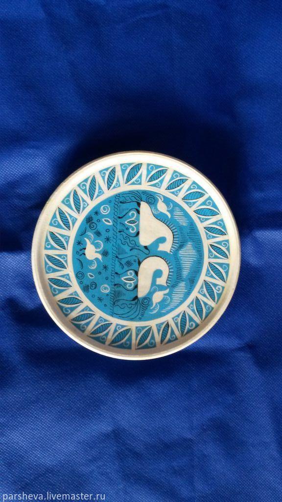 Купить Тарелка Мезенская роспись малая - синий, Тарелка декоративная, тарелка сувенирная, тарелка настенная