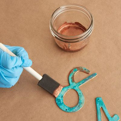give metal the look of copper patina - love the color!