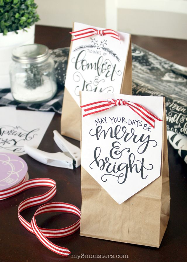 My 3 Monsters: Hand-lettered Holiday Treat Bags