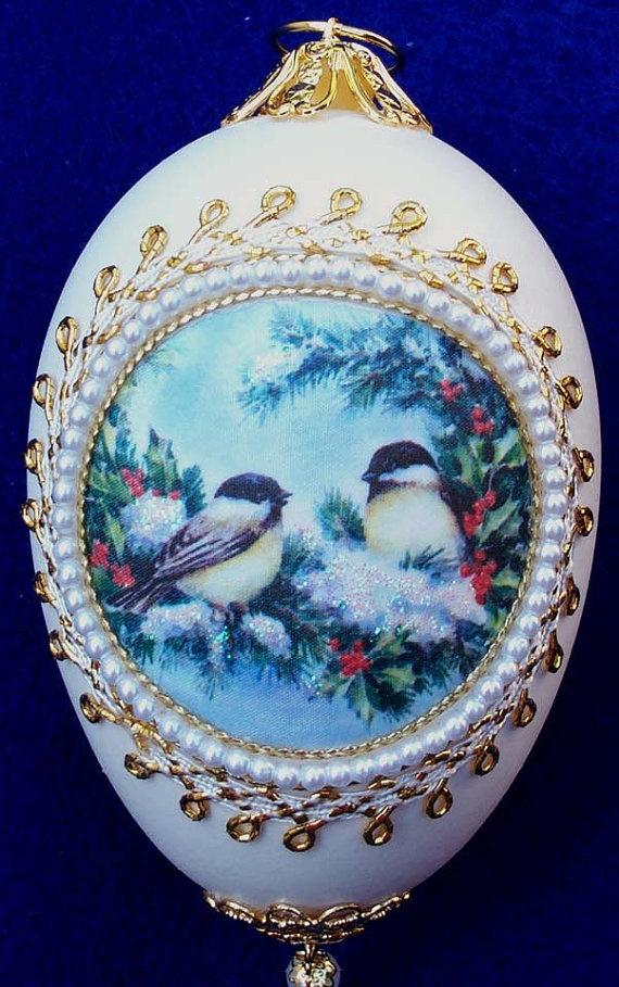 Snowy Birds Silk Print Goose Egg Ornament by MarcellasStudio, $19.95