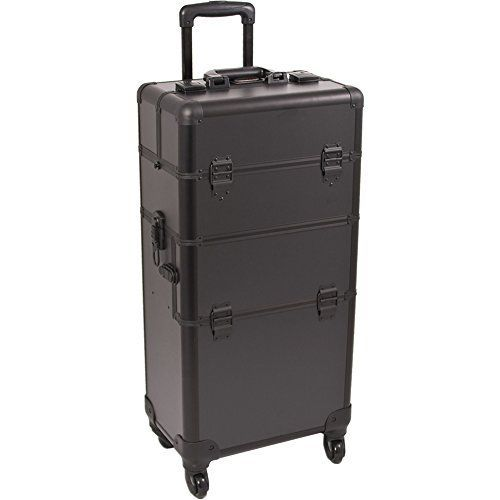 SUNRISE Makeup Case on Wheels 2 in 1 Professional Artist Organizer I3161, 4 Slide and 1 Removable Tray, 4 Wheel Spinner, Black Matte ** Click image to read more details. #MakeupBag #makeuporganizertray