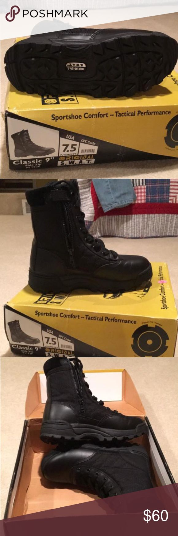 """Classic 9"""" side zip Woman's S.W.A.T boots Woman SWAT Boots Shoes Combat & Moto Boots"""