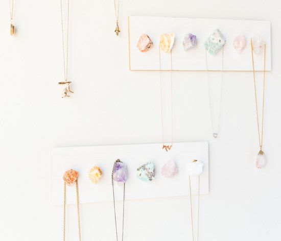 Build a display for your necklaces or other items.   23 Home Decor DIYs For People Who Are Scared Of Power Tools