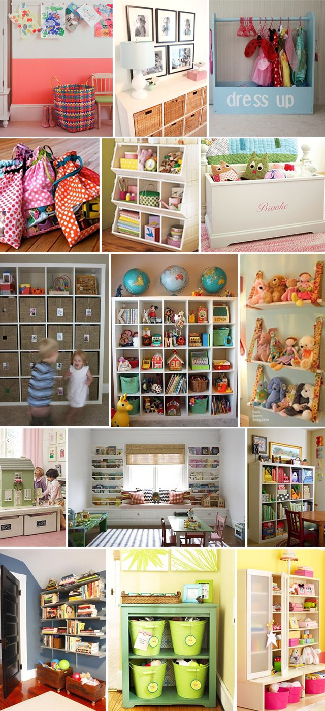 Playroom storage solutions - We have the EXPEDIT bookshelves from IKEA (the square ones) and all the fancy baskets one would ever want.  No matter what, despite having a kid who is relatively good at cleaning up after herself, our bookshelves never look this good.  The only way that would happen is if I put things away myself, but then what does that teach the kid?