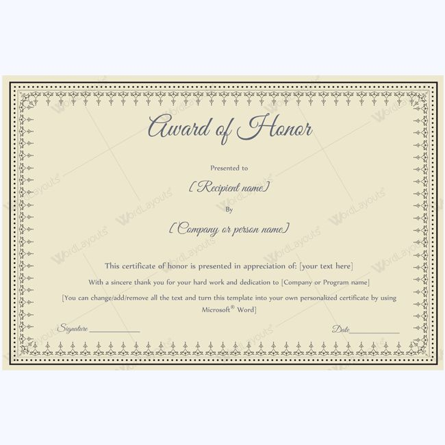 15 best award of honor certificate templates images on Pinterest - certificate template doc