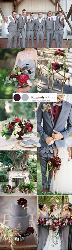 burgundy and grey wedding color ideas / http://www.deerpearlflowers.com/top-8-burgundy-wedding-color-palettes-youll-love/2/