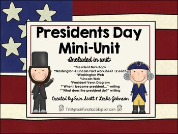 This is a great mini unit to teach your kids about Presidents Day. Read and learn about some of the most famous presidents, with a focus on Abraham Lincoln and George Washington. Included in this unit:*President Mini-Book (could be printed four to a page by customizing and printing multiple pages per sheet.