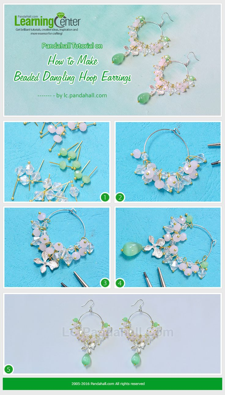 Pandahall Tutorial on How to Make Beaded Dangling Hoop Earrings from LC.Pandahall.com