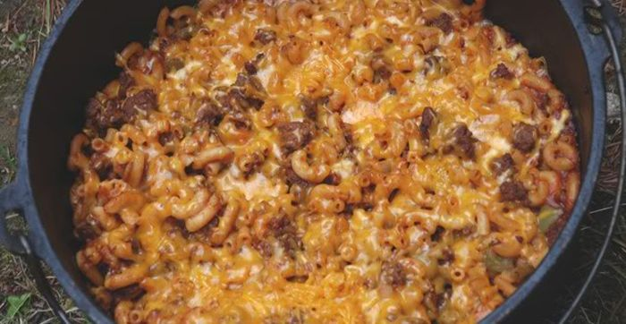 Dutch Oven Beefy Taco Bake for camping