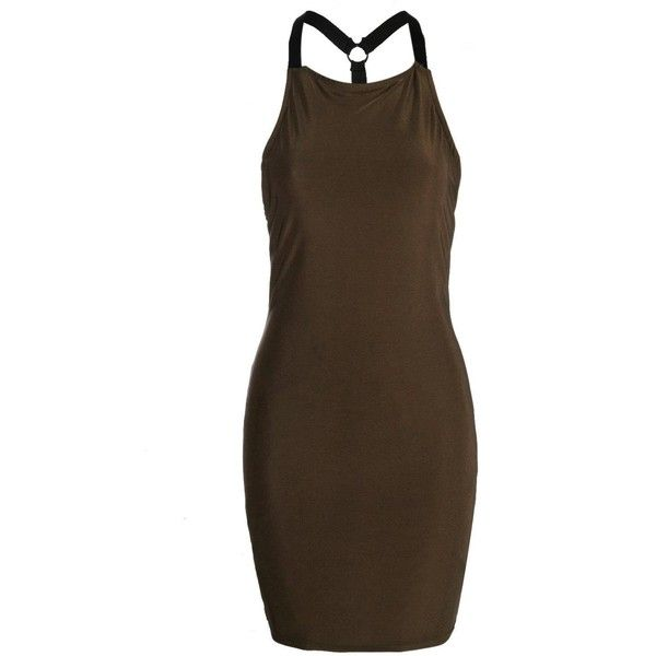 Boohoo Petite Harriet Harness Petal Bodycon Dress ($12) ❤ liked on Polyvore featuring dresses, brown cocktail dress, brown bodycon dress, petite bodycon dresses, bodycon dress and boohoo dresses