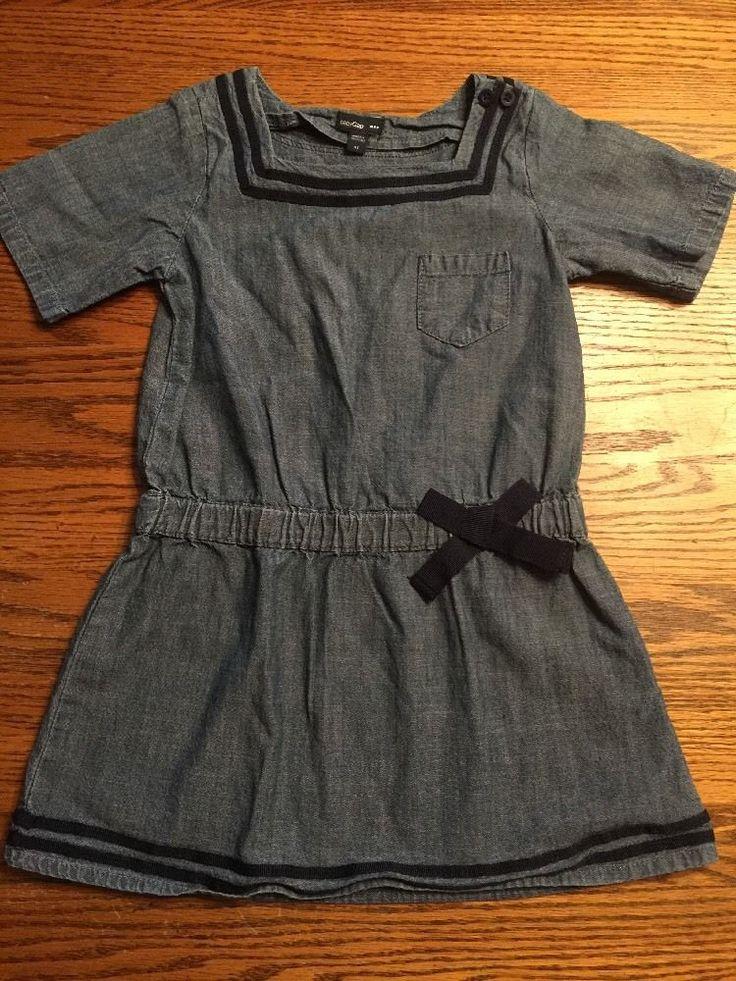 Baby Gap Toddler Girls Size 4T Nautical Chambray Short Sleeve Dress | eBay