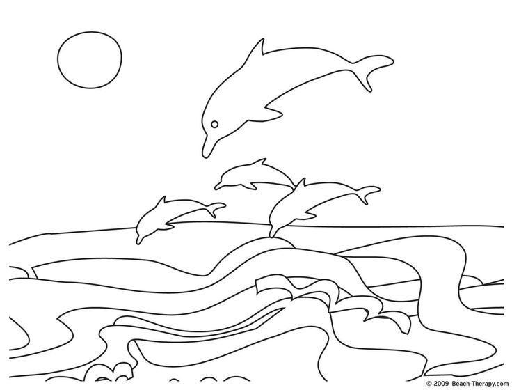Dolphins Coloring Page Easy And Other Beach Pages