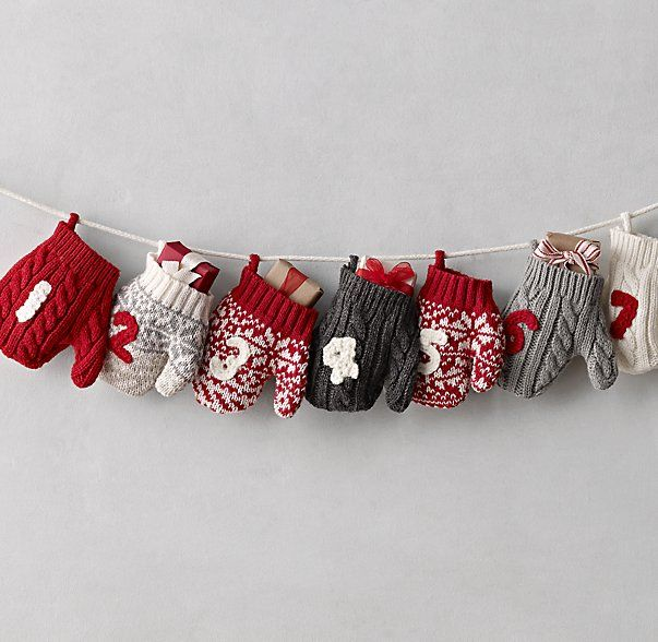 Knitting Pattern Christmas Advent Calendar : Love this playful Knit Mitten Advent Calendar from @restorationhardware jp....