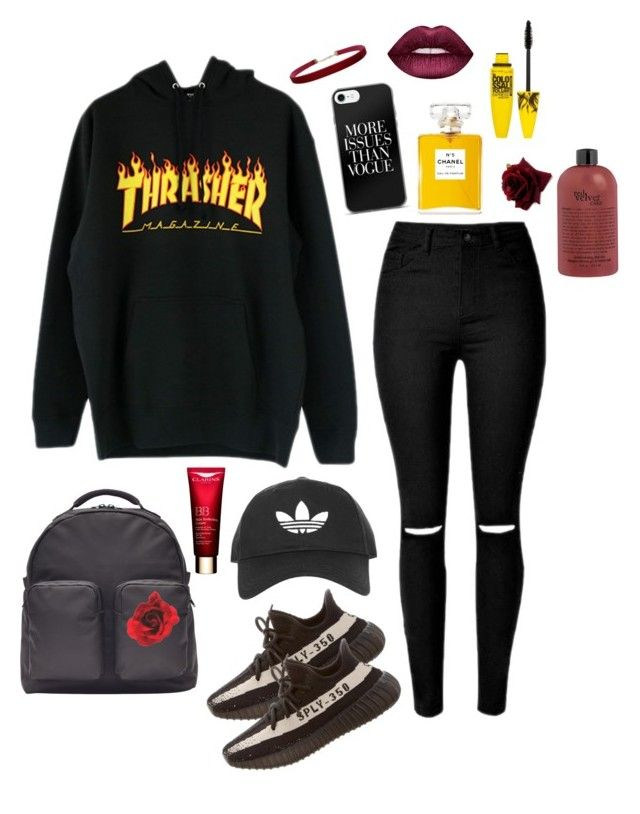 """""""Thrasher✌️"""" by vanna0803 on Polyvore featuring adidas Originals, Topshop, Lime Crime, Chanel, Maybelline and Humble Chic"""