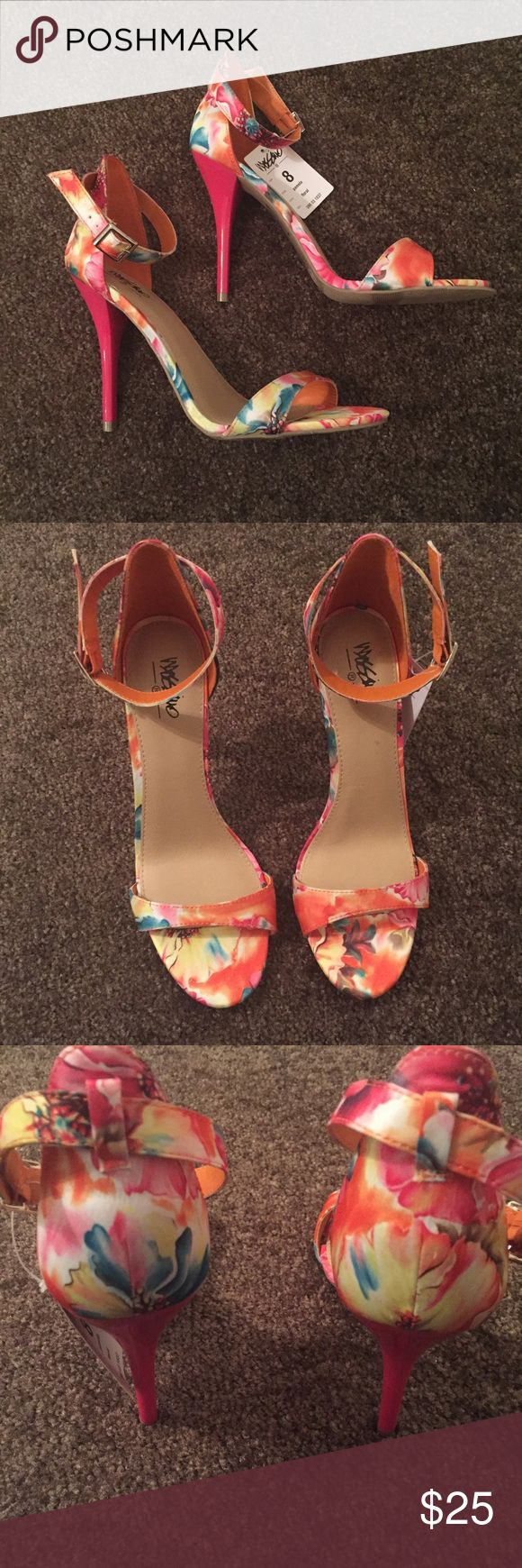 Mossimo 'Pamela' Floral Strappy Heels NWT. Perfect for the upcoming Spring and Summer seasons! Mossimo Supply Co. Shoes Heels