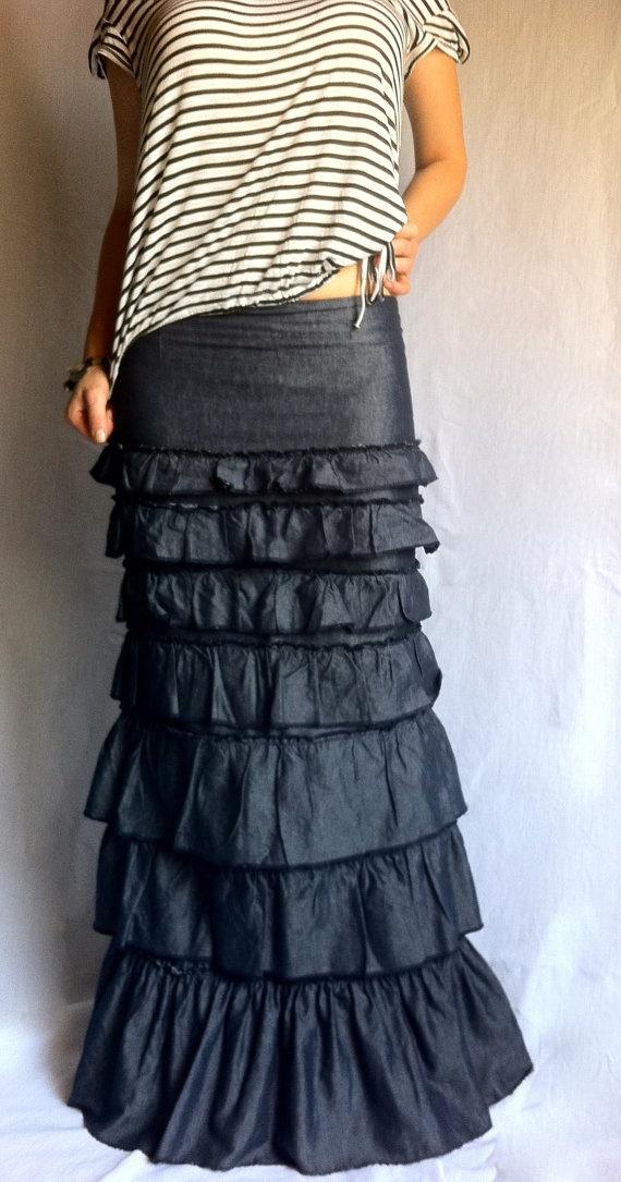 Ruffles Layered Skirt Denim Bohemian Maxi Skirt Ruffled Long Skirt Layered Sexy Long Skirt by ...