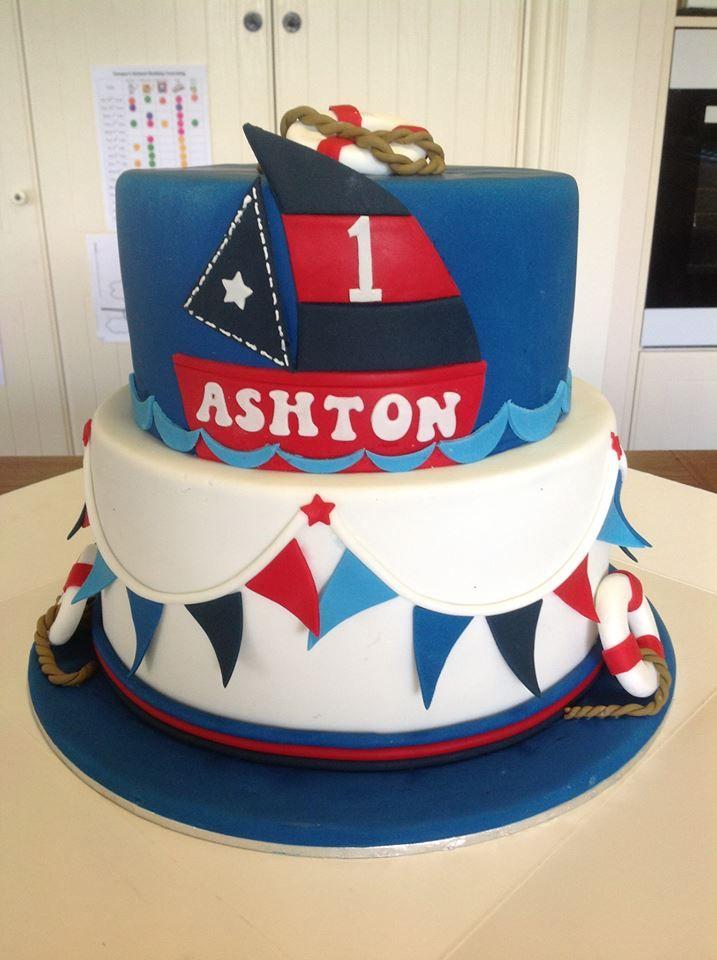 Nautical Themed 1st birthday cake.