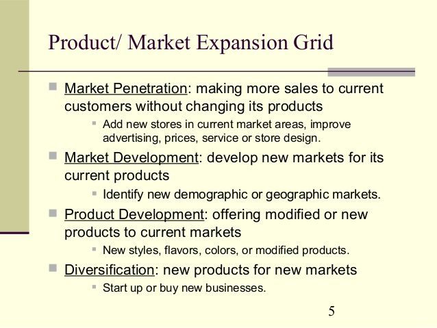 product market expansion grid of nestle