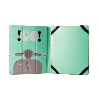 Practical cover for iPad in Pu leather decorated with design of Vespa comunication. Color of design is green and cover is gray.