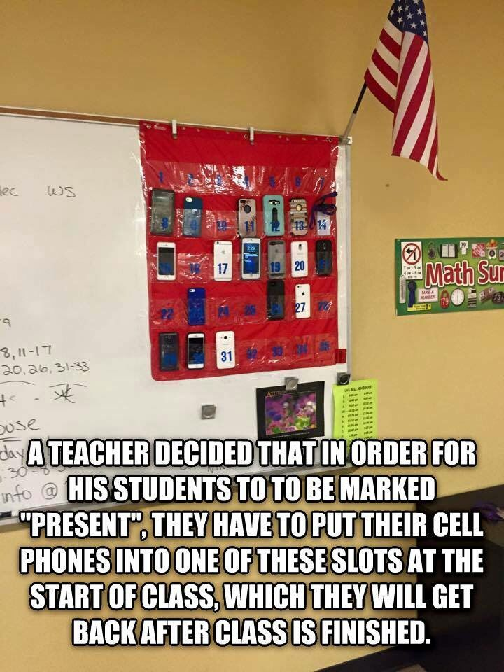 "Cell phones in shoe organizer with student numbers. They are at the front of the classroom so all have clear view of their phone and can't say that someone ""messed"" with their phone. They are numbered to indicate which phone belongs to which student. I like this!"