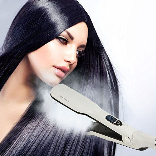 YokPollar Steam Hair Straightener Comb Salon Steam Hair Straightening Double Plate Brush Clip Fast Detangling Straighter Brush with Removable Water Reservoir White >>> You can get additional details at the image link.
