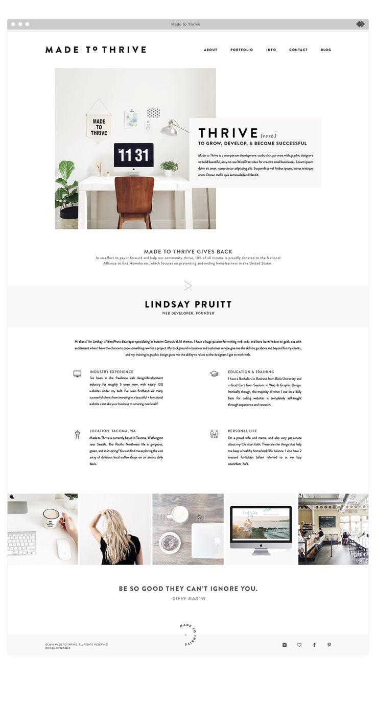 About page for Made To Thrive