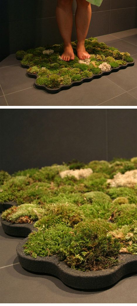 This moss bath mat basically takes care of itself!