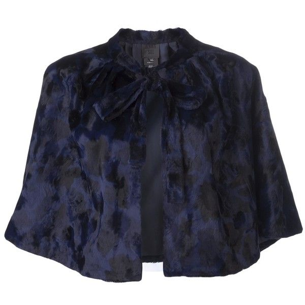 ANNA SUI cropped caplet (12,130 MXN) ❤ liked on Polyvore featuring outerwear, anna sui, jackets, blue necktie, neck-tie, navy necktie and neck ties