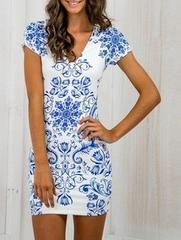 Blue and White Bodycon Dress with Tribal Print - S / Blue