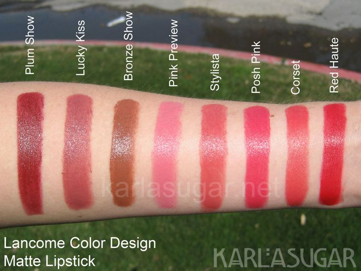 lancome matte lipstick swatches, I wear plum show, looks red not plum on. Perfect for my fair skin